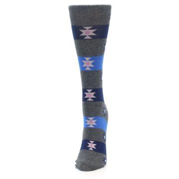 Image of Grey Blue Stripe Women's Dress Socks (side-2-front-06)