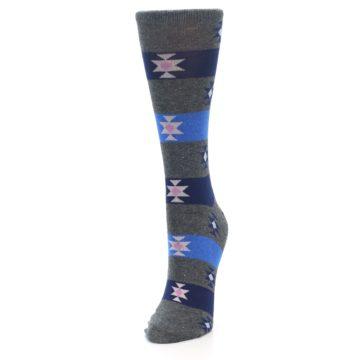 Image of Grey Blue Stripe Women's Dress Socks (side-2-front-07)