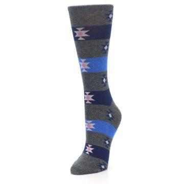Image of Grey Blue Stripe Women's Dress Socks (side-2-front-08)