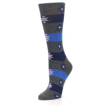 Image of Grey Blue Stripe Women's Dress Socks (side-2-09)