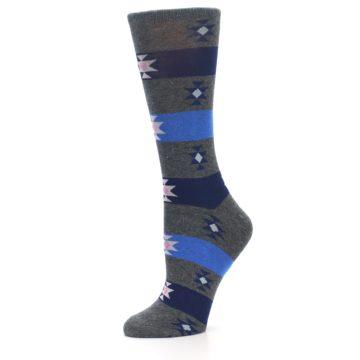 Image of Grey Blue Stripe Women's Dress Socks (side-2-10)