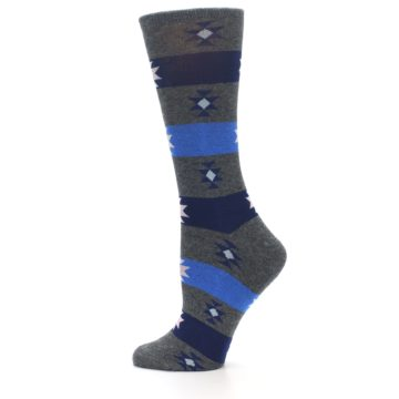 Image of Grey Blue Stripe Women's Dress Socks (side-2-12)