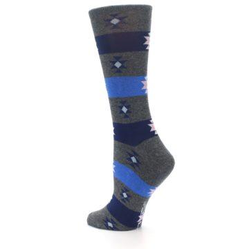 Image of Grey Blue Stripe Women's Dress Socks (side-2-back-14)