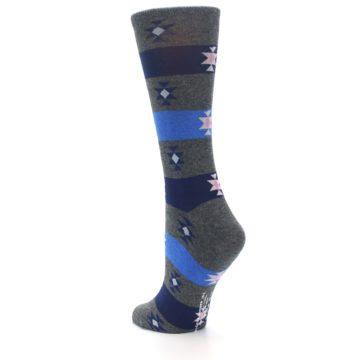 Image of Grey Blue Stripe Women's Dress Socks (side-2-back-15)