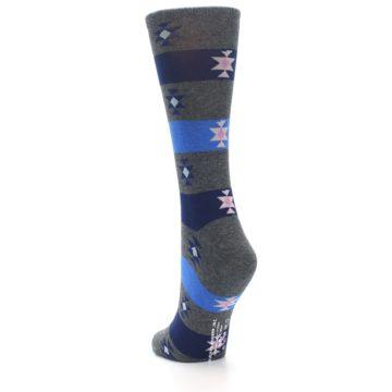 Image of Grey Blue Stripe Women's Dress Socks (side-2-back-16)