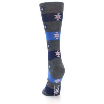 Image of Grey Blue Stripe Women's Dress Socks (back-17)