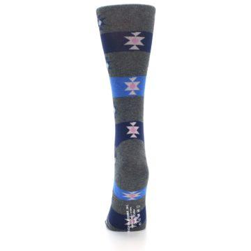 Image of Grey Blue Stripe Women's Dress Socks (back-18)