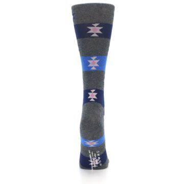 Image of Grey Blue Stripe Women's Dress Socks (back-19)