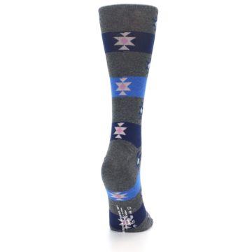 Image of Grey Blue Stripe Women's Dress Socks (side-1-back-20)