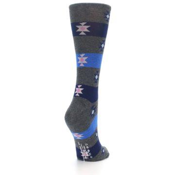 Image of Grey Blue Stripe Women's Dress Socks (side-1-back-21)