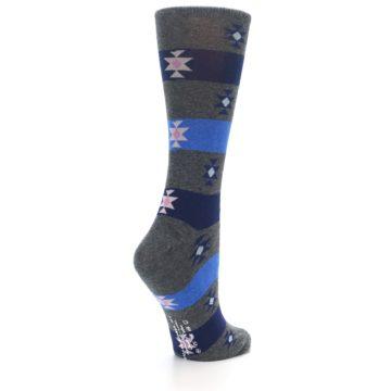 Image of Grey Blue Stripe Women's Dress Socks (side-1-back-22)
