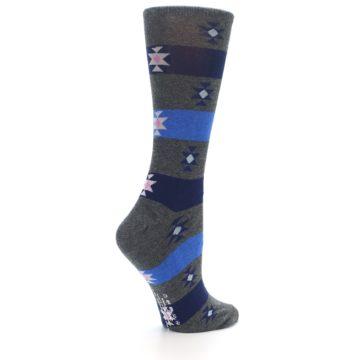 Image of Grey Blue Stripe Women's Dress Socks (side-1-23)