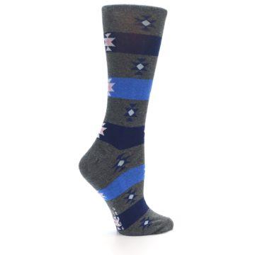 Image of Grey Blue Stripe Women's Dress Socks (side-1-24)