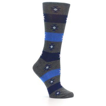 Image of Grey Blue Stripe Women's Dress Socks (side-1-25)
