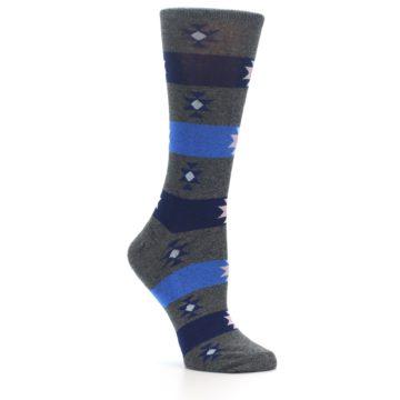 Image of Grey Blue Stripe Women's Dress Socks (side-1-26)
