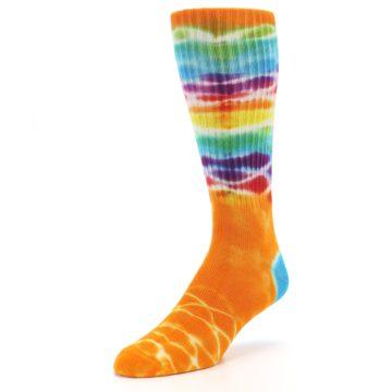 Image of Orange Multi Tie Dye Bamboo Men's Socks (side-2-front-08)