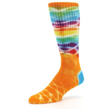 Image of Orange Multi Tie Dye Bamboo Men's Socks (side-2-09)