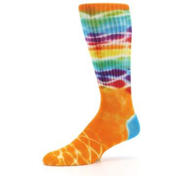 Image of Orange Multi Tie Dye Bamboo Men's Socks (side-2-10)