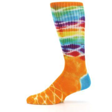 Image of Orange Multi Tie Dye Bamboo Men's Socks (side-2-11)
