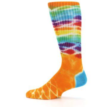 Image of Orange Multi Tie Dye Bamboo Men's Socks (side-2-12)