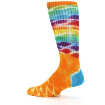 Image of Orange Multi Tie Dye Bamboo Men's Socks (side-2-13)