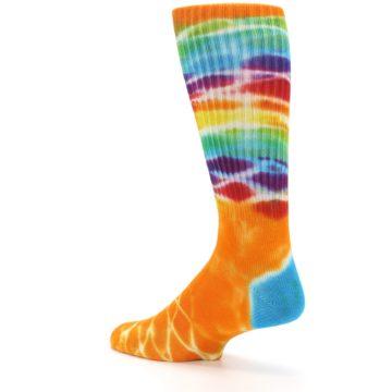Image of Orange Multi Tie Dye Bamboo Men's Socks (side-2-back-14)