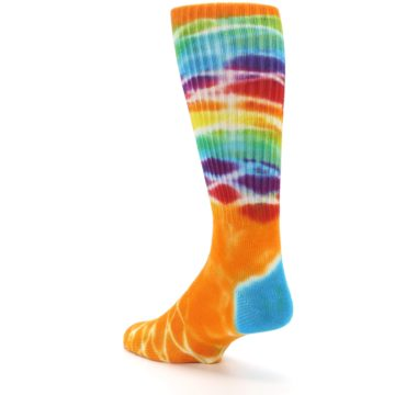 Image of Orange Multi Tie Dye Bamboo Men's Socks (side-2-back-15)