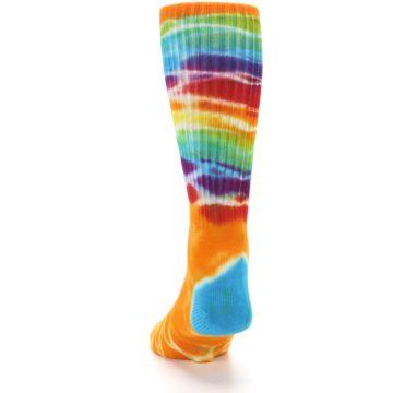 Image of Orange Multi Tie Dye Bamboo Men's Socks (back-17)