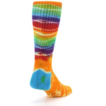 Image of Orange Multi Tie Dye Bamboo Men's Socks (side-1-back-21)