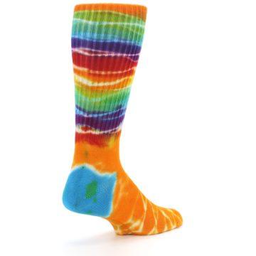 Image of Orange Multi Tie Dye Bamboo Men's Socks (side-1-back-22)