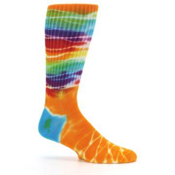 Image of Orange Multi Tie Dye Bamboo Men's Socks (side-1-25)