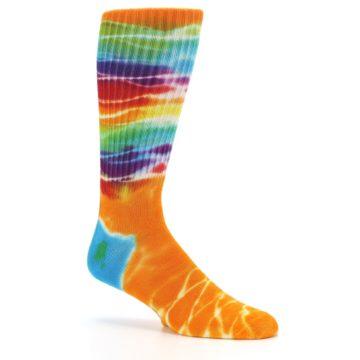 Image of Orange Multi Tie Dye Bamboo Men's Socks (side-1-26)