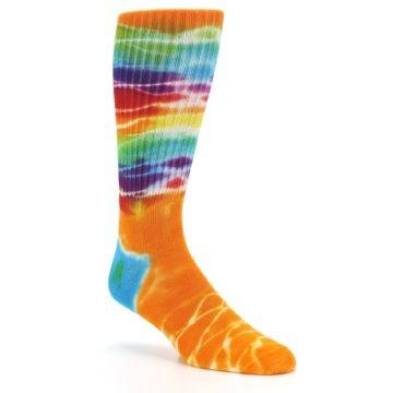 Image of Orange Multi Tie Dye Bamboo Men's Socks (side-1-27)