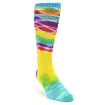 Image of Yellow Multi Tie Dye Bamboo Men's Socks (side-1-front-02)