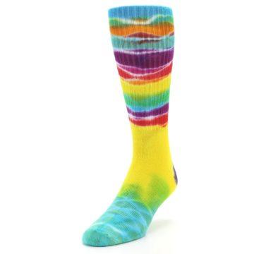 Image of Yellow Multi Tie Dye Bamboo Men's Socks (side-2-front-07)