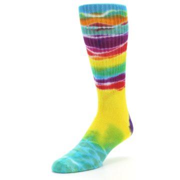 Image of Yellow Multi Tie Dye Bamboo Men's Socks (side-2-front-08)