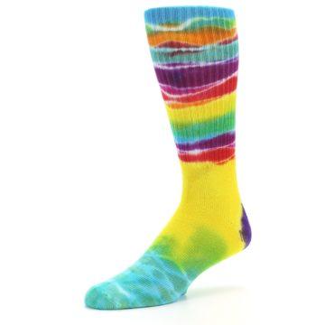 Image of Yellow Multi Tie Dye Bamboo Men's Socks (side-2-09)