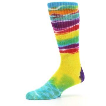 Image of Yellow Multi Tie Dye Bamboo Men's Socks (side-2-10)