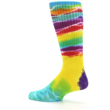 Image of Yellow Multi Tie Dye Bamboo Men's Socks (side-2-13)