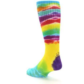 Image of Yellow Multi Tie Dye Bamboo Men's Socks (side-2-back-15)