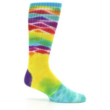 Image of Yellow Multi Tie Dye Bamboo Men's Socks (side-1-25)