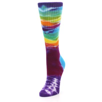 Image of Purple Multi Women's Tie Dye Socks (side-2-front-07)
