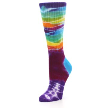 Image of Purple Multi Women's Tie Dye Socks (side-2-front-08)