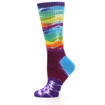 Image of Purple Multi Women's Tie Dye Socks (side-2-11)