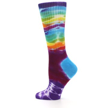 Image of Purple Multi Women's Tie Dye Socks (side-2-12)