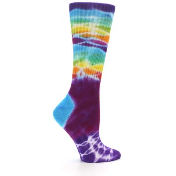 Image of Purple Multi Women's Tie Dye Socks (side-1-24)