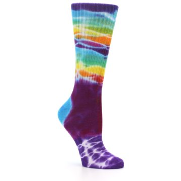 Image of Purple Multi Women's Tie Dye Socks (side-1-26)