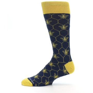 Image of Navy Yellow Honey Bee Men's Dress Socks (side-2-11)