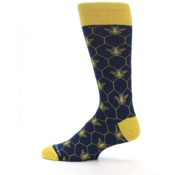 Image of Navy Yellow Honey Bee Men's Dress Socks (side-2-12)