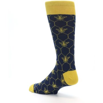 Image of Navy Yellow Honey Bee Men's Dress Socks (side-2-back-14)